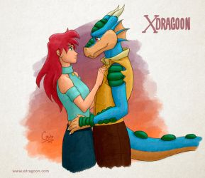 Renata and Rocky  - Xdragoon by Gata-flecha