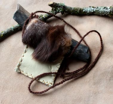 Fox Fur and Deerskin Pouch by lupagreenwolf