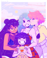Sailor Moon: Saturn, Uranus, Neptune, Pluto by ArtGuru123