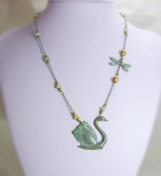 Swan and Dragonfly Verdigris by JinxMim