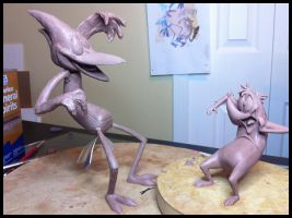 Mordecai and Rigby WIP Sculpts by Frazzy626
