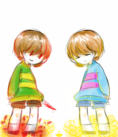 frisk and chara by huslu