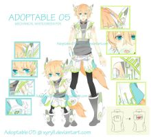 [CLOSED] Adoptable 05: Mechanical White/Green Fox by Staccatos