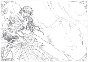 Beren and Luthien lineart by Toradh