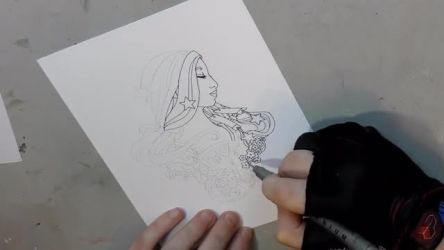 Art Time Lapse - Inking Lady of July's Pin Design