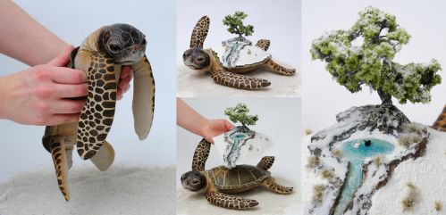 Poseable art doll, winter world bearer sea turtle by FellKunst