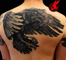 Raven Back Tattoo by Jackie Rabbit by jackierabbit12