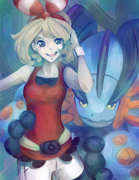 Mega Swampert and May by Mochiibon