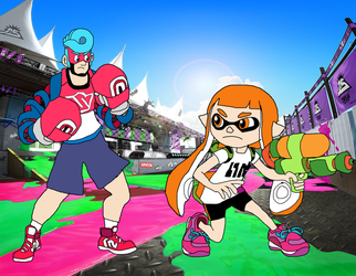 Spring Man vs Inkling by RedPegasus237