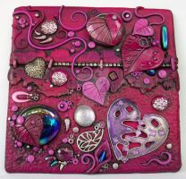 Magenta Hearts Art Tile by MandarinMoon