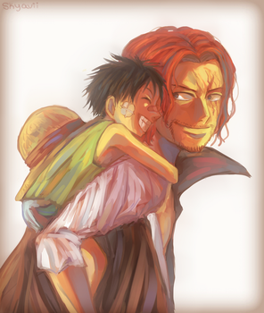 Shanks and Luffy by Skyavii