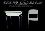 [MMD + M3 Furniture] School Desk and Chair + DL by The-Horrible-Mu