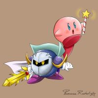 Meta Knight and Kirby by Primrose-Rachel