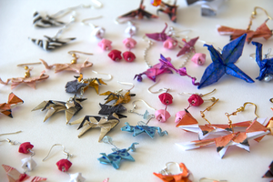 Origami Earrings by okamitsuki