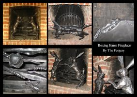 Boxing Hares Fireplace by theforgery