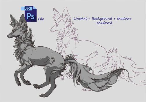 FREE LineArt Fox + PSD file by Furrirama