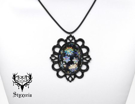 Snowflakes holographic Cameo Pendant by Styxeria
