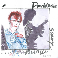 David Bowie Scary Monsters Cover Mixed Media by Kuromizuri2