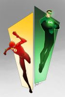 Scarlet Speedster and the Emerald Knight by TheBabman