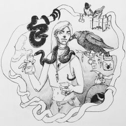 Poison Witch, ink wash by admhire