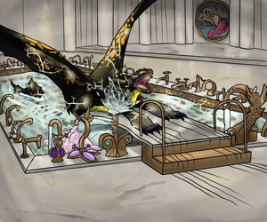 Volt the Dragon and the Prefect's Bathroom by petrichlorine