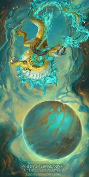2018 The Water Weaving Zodiac Dragon Aquarius by The-SixthLeafClover