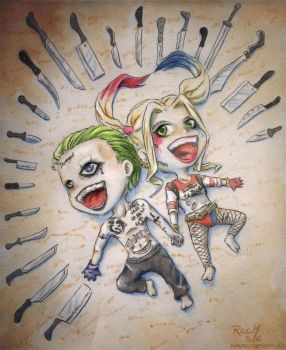 Suicide Squad Joker and Harley Quinn Chibis by Racuun