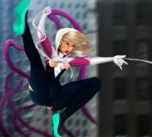 Spider-Gwen vs Tentacles by Elixer-EX