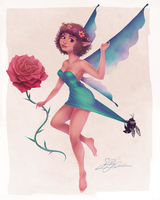 Pin-Up Fairy Stealing a Rose by dwightyoakamfan