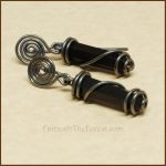Blackstone Crystal Point, Sterling Silver Earrings by Gailavira