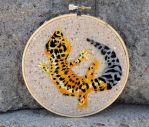 Hand embroidered Leopard Gecko Hoop by Throughawolfseyes