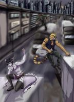 :Commission: Escape from the city by Wastelands-Knight
