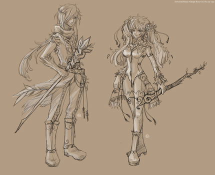Character concept sketch 02 by JinkiMania