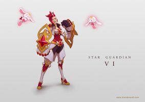 LoL skin concept: Star Guardian Vi by Shockowaffel