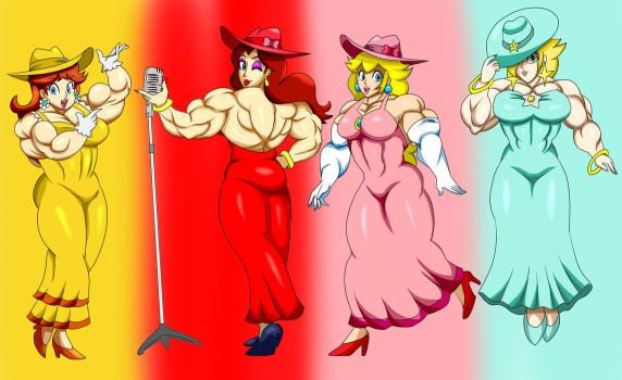 1-Up Gals By DepravedDefense Colored by ZeZeReRe