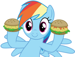 Rainbow Dash with hayburgers by CloudyGlow