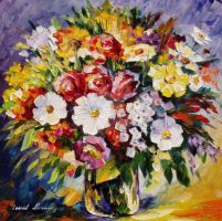 Gift Flowers by Leonid Afremov by Leonidafremov