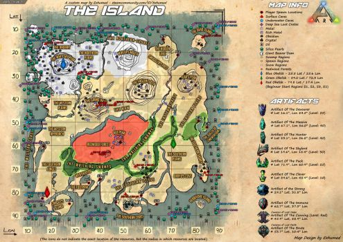Ark The Island map by Exhumed by 3xhumed