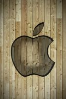 Iphone 4 Apple Wallpaper Wood by thekingofthevikings