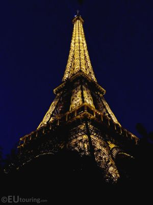 Night time photo of the Eiffel by EUtouring