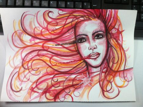 Woman watercolor by Tonig2