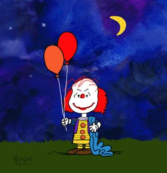 Stephen King and Peanuts Mashup - Pennywise by HalHefnerART