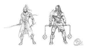 DnD characters - Rogue and Barbarian by Haridimus