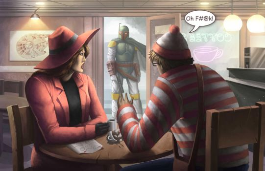 Boba Fett finds Waldo and Carmen by oliverdking