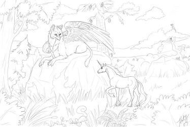 Lell and Illishar Lineart by daughterofthestars