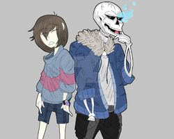 Frisk and Sans by Kerry-Sene
