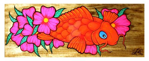 Koi on wood by luther1000