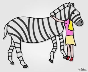 Girl in Pink kisses Zebra by woubuc