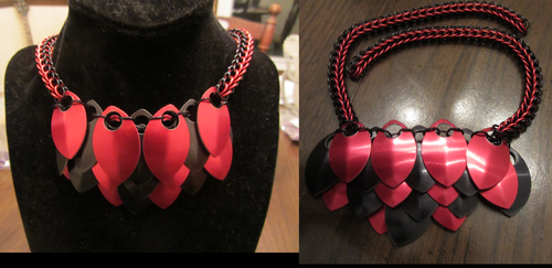 Red and Black Scale Necklace by BradsCC