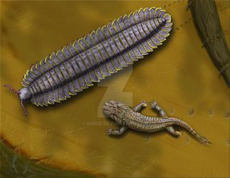 Arthropleura and Onchiodon by DiBgd